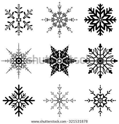 Various snowflake designs - stock vector