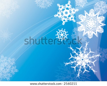Various snowflakes floating in a winter sky