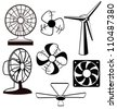Various spinning ventilators and fans - stock photo