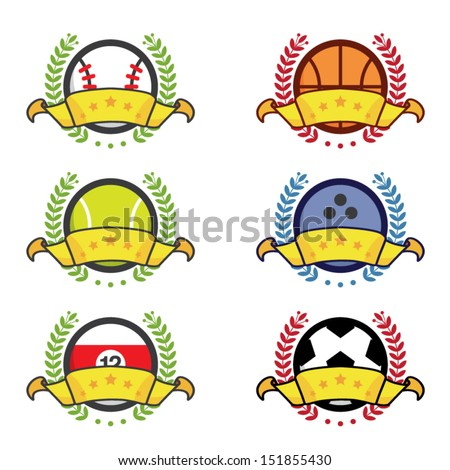 Various sport icon winning badges, winners concept, vector illustration - stock vector