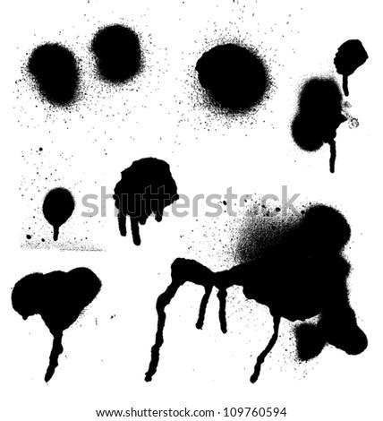 Various Spray paint graffiti decorative splatters - stock vector