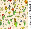 Various spring colorful flowers on beige seamless pattern, vector - stock vector