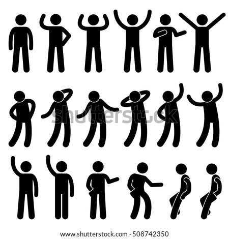 Various Standing Postures Poses Human Man People Stick Figure Stickman Pictogram Icons