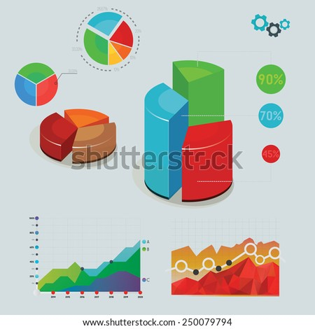 Various statistic elements: charts, timetable, pies, vector illustration. - stock vector