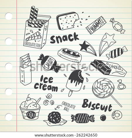 various sweet in doodle style - stock vector