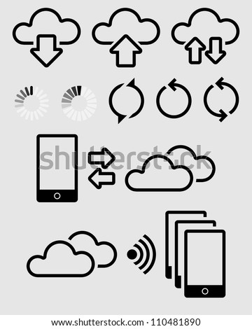 Various Symbols for Cloud Synchronization - stock vector