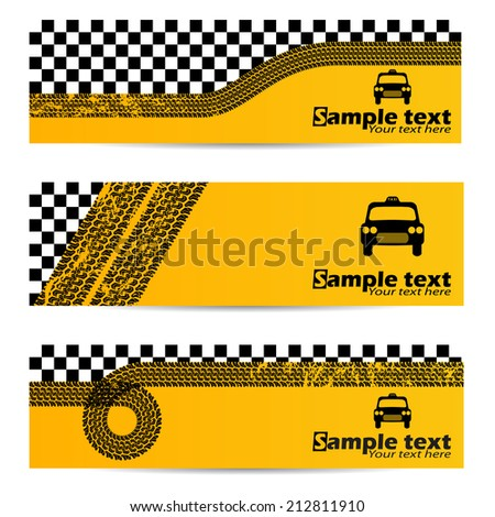 Various taxi tire banner set of 3 - stock vector