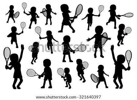 Various Tennis Poses Silhouette Cartoon Vector Illustration