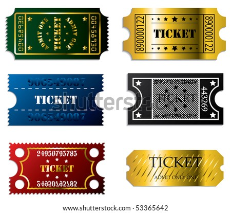 Various tickets - stock vector