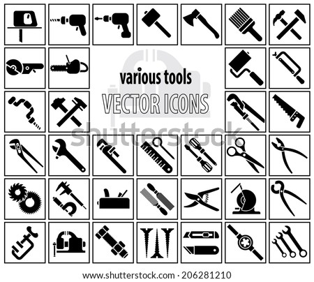 Various tools on white background. Set of vector icons - stock vector