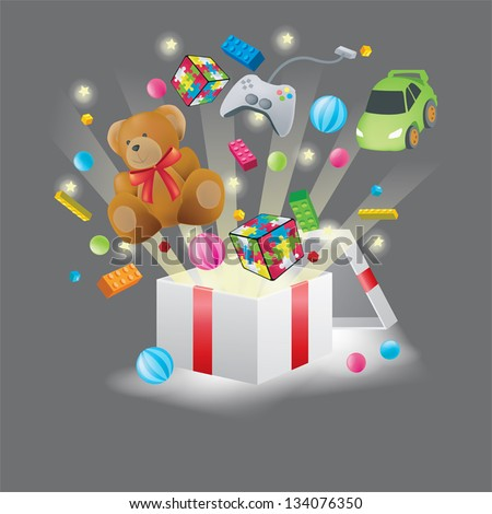 Various toys burst from present box in black background, create by vector - stock vector