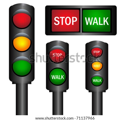 Various traffic lights from different countries vector - stock vector