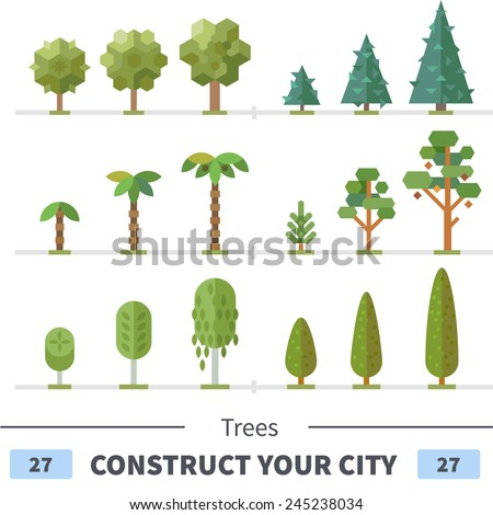 Various trees and plants: spruce, pine, palm tree, apple tree, bush. Set of elements for construction of urban and village landscapes. Vector flat illustration - stock vector