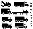 Various truck silhouettes in black - stock photo