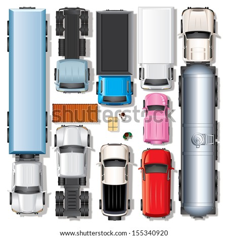 Various Trucks, Vector Kit. Set of Automobiles Include: Freightliner Reefer Truck, Cabover, Sleeper Cab Tractor, Dump Truck, City Pickup, Box Van, Micro Minivan, Oil Tanker. View from Top Position - stock vector