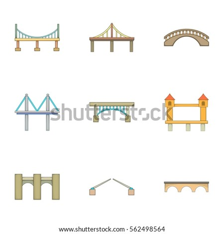 Various types of bridges icons set. Cartoon illustration of 9 various types of bridges vector icons for web