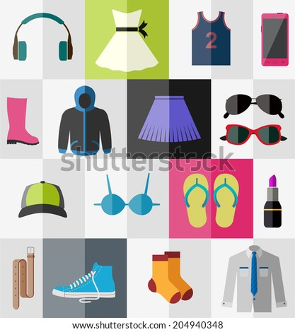 Various types of clothes and accessories for teenagers - stock vector
