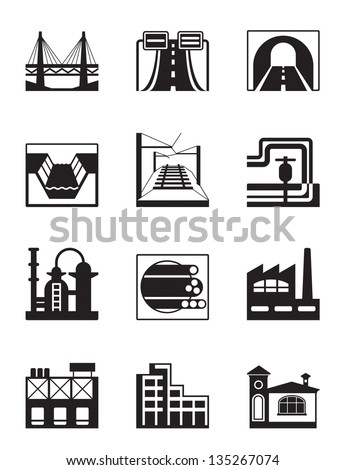 Various types of construction - vector illustration - stock vector