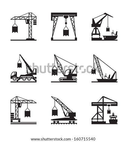 Various types of cranes - vector illustration - stock vector