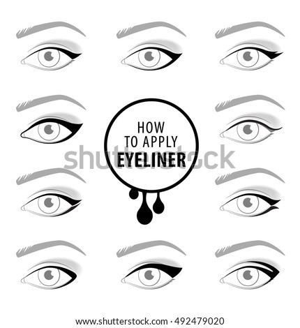 Various types of eyeliner, vector set
