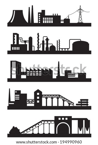 Various types of industrial plants - vector illustration