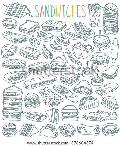 Various types of sandwiches - club sandwich, cheeseburger, hamburger, falafel in pita, shawarma, deli wrap, roll, taco, baguette, panini, bagel, toast. Outline drawing isolated on white background. - stock vector