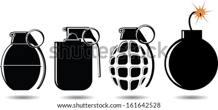 various types of shells and bombs vector illustration - stock vector