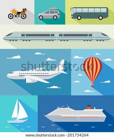 Various types of transport: car, bus, train, airoplane, air baloon, sailing boat, ship with long shadow effect. Vector set of different means of transportation. - stock vector