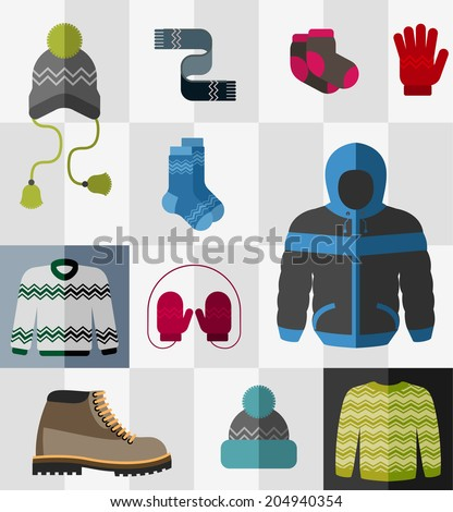 Various types of winter clothes and accessories - stock vector