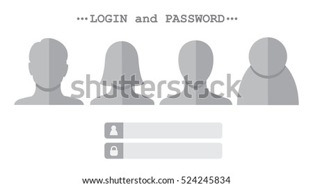 Various user icon and authentication login form