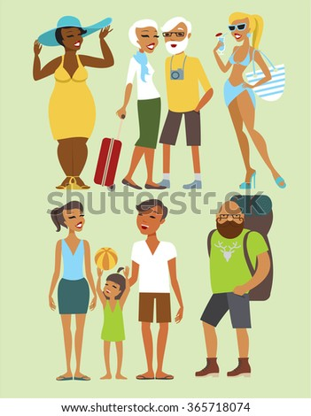 Various vacation people flat vector character set - stock vector