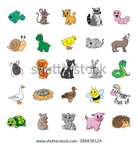 Various vector animal illustrations. - stock vector