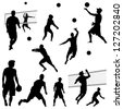 various vector beach volleyball silhouettes - stock vector