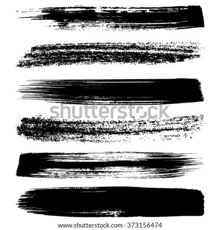 Various vector black brush strokes silhouettes big collection - stock vector