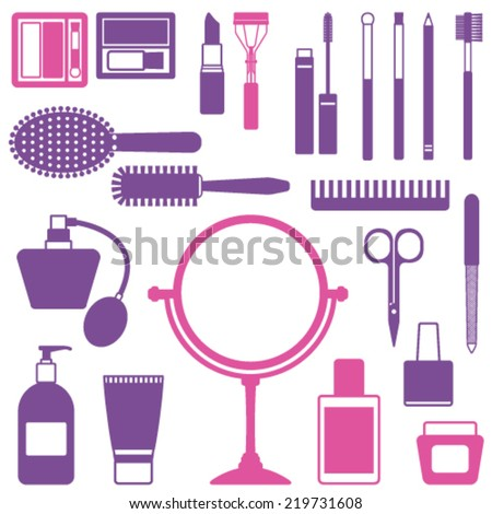 Various vector cosmetic objects - stock vector