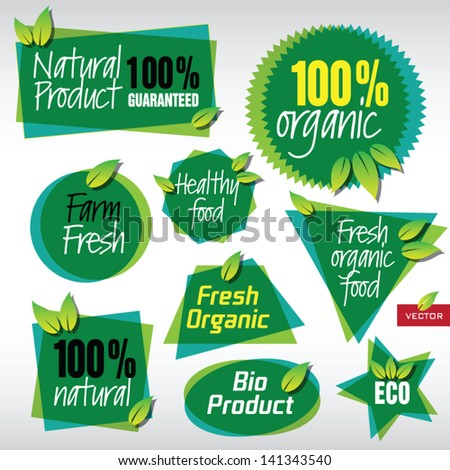 Various Vector Labels for Organic Products
