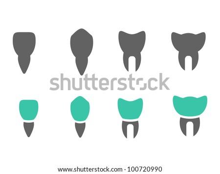 Various vector teeth icons - stock vector