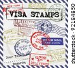 Various Visa Stamps Background - stock vector