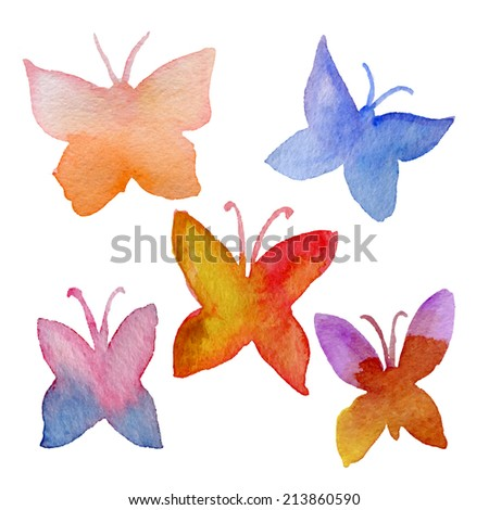Various watercolor hand drawn butterflies collection - vector eps10 - stock vector