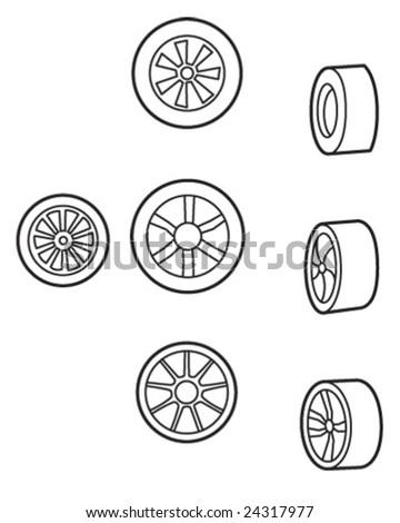various wheels - vector illustration - stock vector