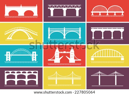 Various White Modern Bridge Icons Graphic Designs on Colorful Background