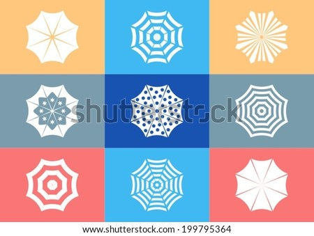 Various white sun umbrella icons on colorful rectangles - stock vector
