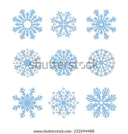 Various winter snowflakes vector set - stock vector