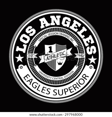 Varsity college Los Angeles university division team sport label typography, t-shirt graphics for apparel - stock vector