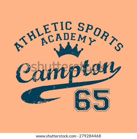 Varsity college print in vector