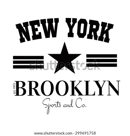 Varsity New york Brooklyn college university division team sport baseball label typography, t-shirt graphics for apparel - stock vector
