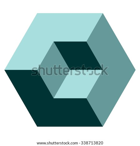 Vasarely cube in teal shades, logo design element, optical illusion, vector illustration - stock vector