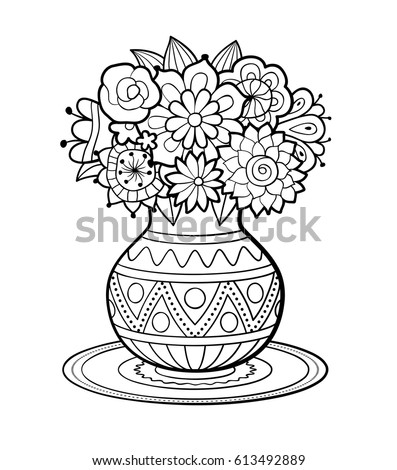 Vase Flowers Geometric Ornament Standing On Stock Vector Royalty