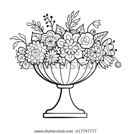 Coloring Pages Of Flowers In A Pot Coloring Pages
