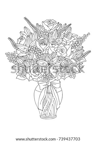 vase with flowers hand drawn picture sketch for anti stress adult coloring book - Coloring Book Flowers